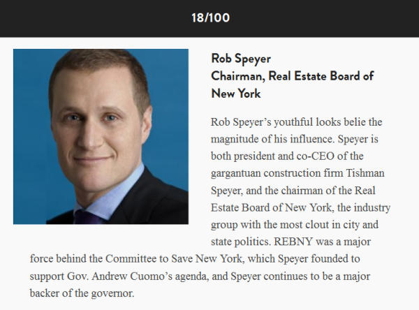 Rob Speyer City & State Power 100 List